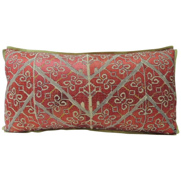 19th Century Red Moroccan Embroidery Bolster Decorative Pillow For Sale