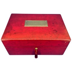 19th Century Red Morocco Leather Documents or Jewelry Strong Box, by W. Leuchars