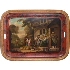 19th Century Red Tole Tray
