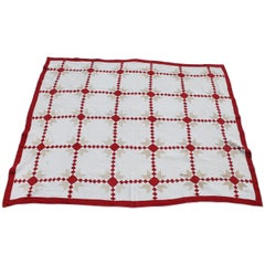 19th Century Red & White Quilt with Postage Stamp Chain Pattern