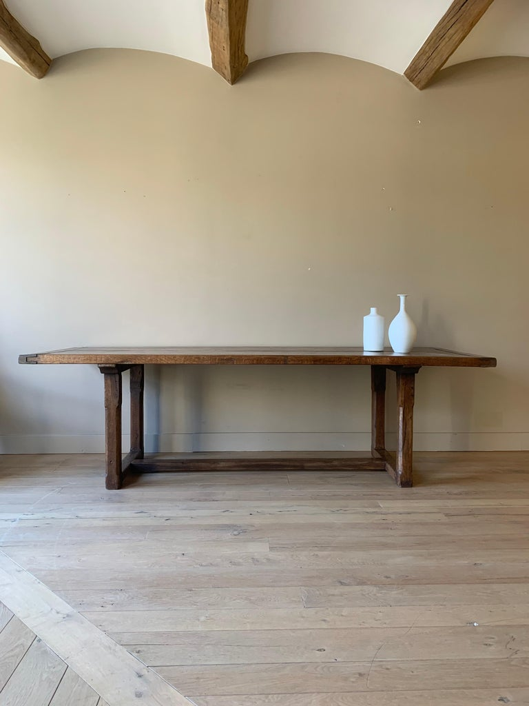 Hand-Crafted 19th Century Refectory Farm Table For Sale