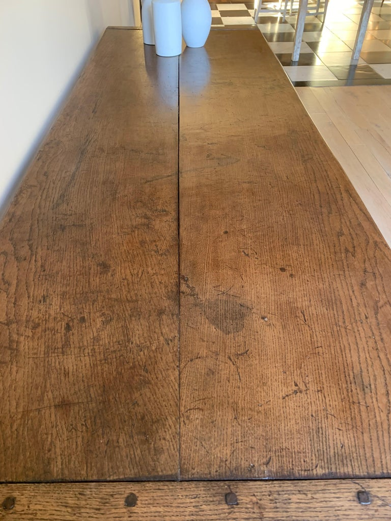 Elm 19th Century Refectory Farm Table For Sale
