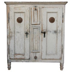 19th Century Refrigerator or Ice Box Cabinet in Original Cream Paint