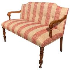 19th Century Regency 2-Seat Window Seat Newly Upholstered in Chenille Stripe