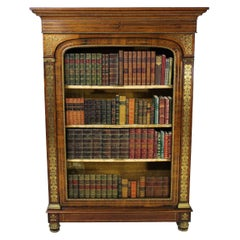 19th Century Regency Brass Inlaid Rosewood Open Bookcase