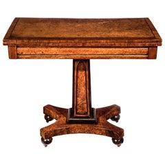 19th Century Regency Burl Amboyna Card Table or Console Table
