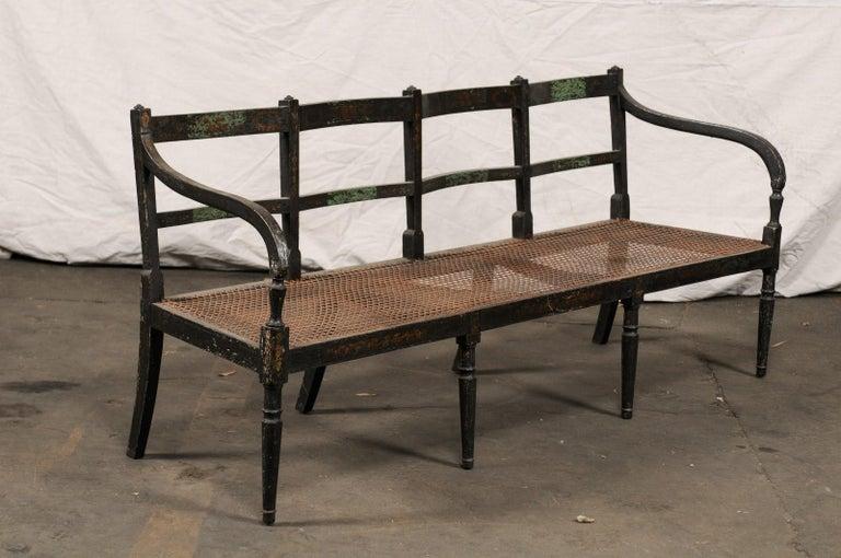 European 19th Century Regency Caned Wood Ebonized Bench, Original Paint For Sale