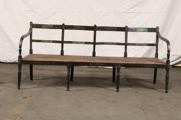 Hand-Painted 19th Century Regency Caned Wood Ebonized Bench, Original Paint For Sale