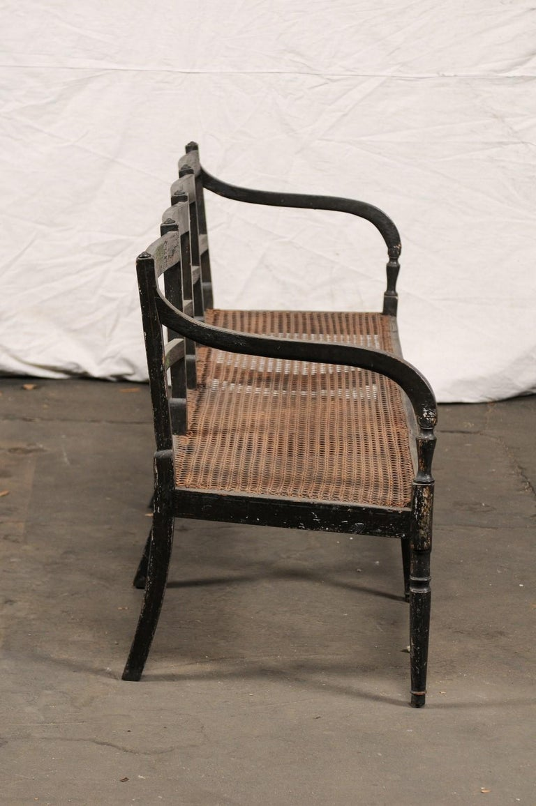 19th Century Regency Caned Wood Ebonized Bench, Original Paint In Good Condition For Sale In Atlanta, GA