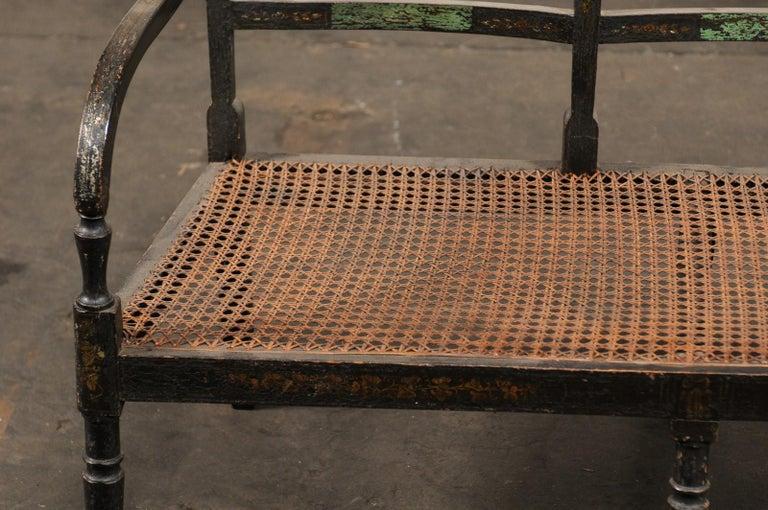 19th Century Regency Caned Wood Ebonized Bench, Original Paint For Sale 1