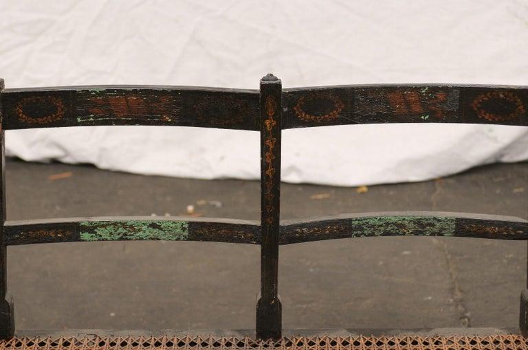 19th Century Regency Caned Wood Ebonized Bench, Original Paint For Sale 2