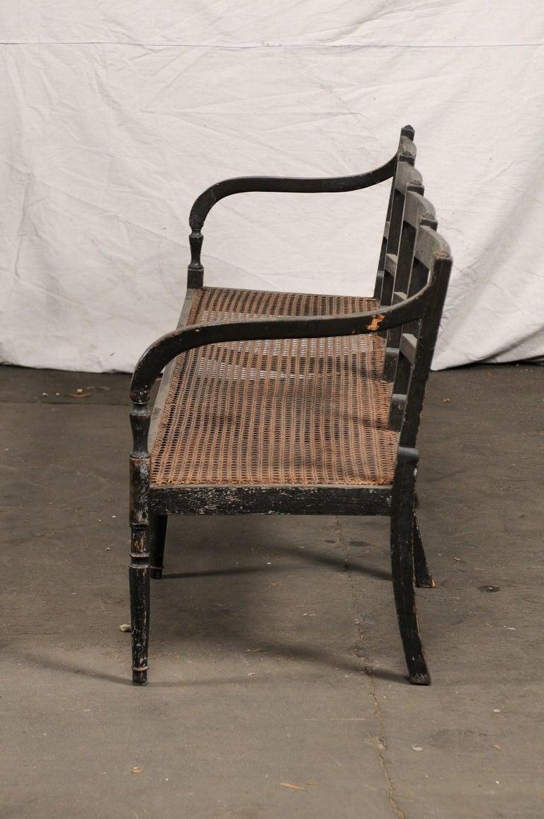19th Century Regency Caned Wood Ebonized Bench, Original Paint For Sale 3