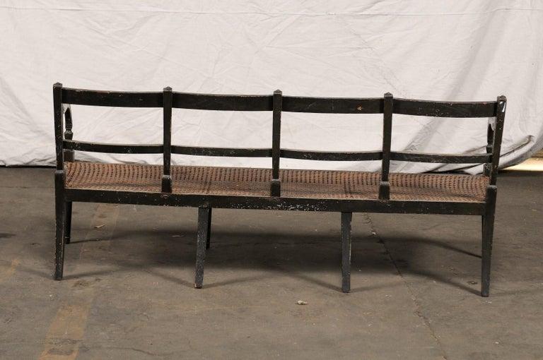 19th Century Regency Caned Wood Ebonized Bench, Original Paint For Sale 5