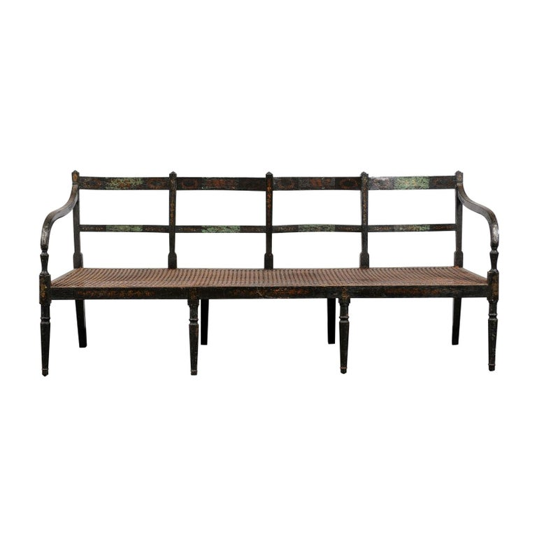 19th Century Regency Caned Wood Ebonized Bench, Original Paint For Sale