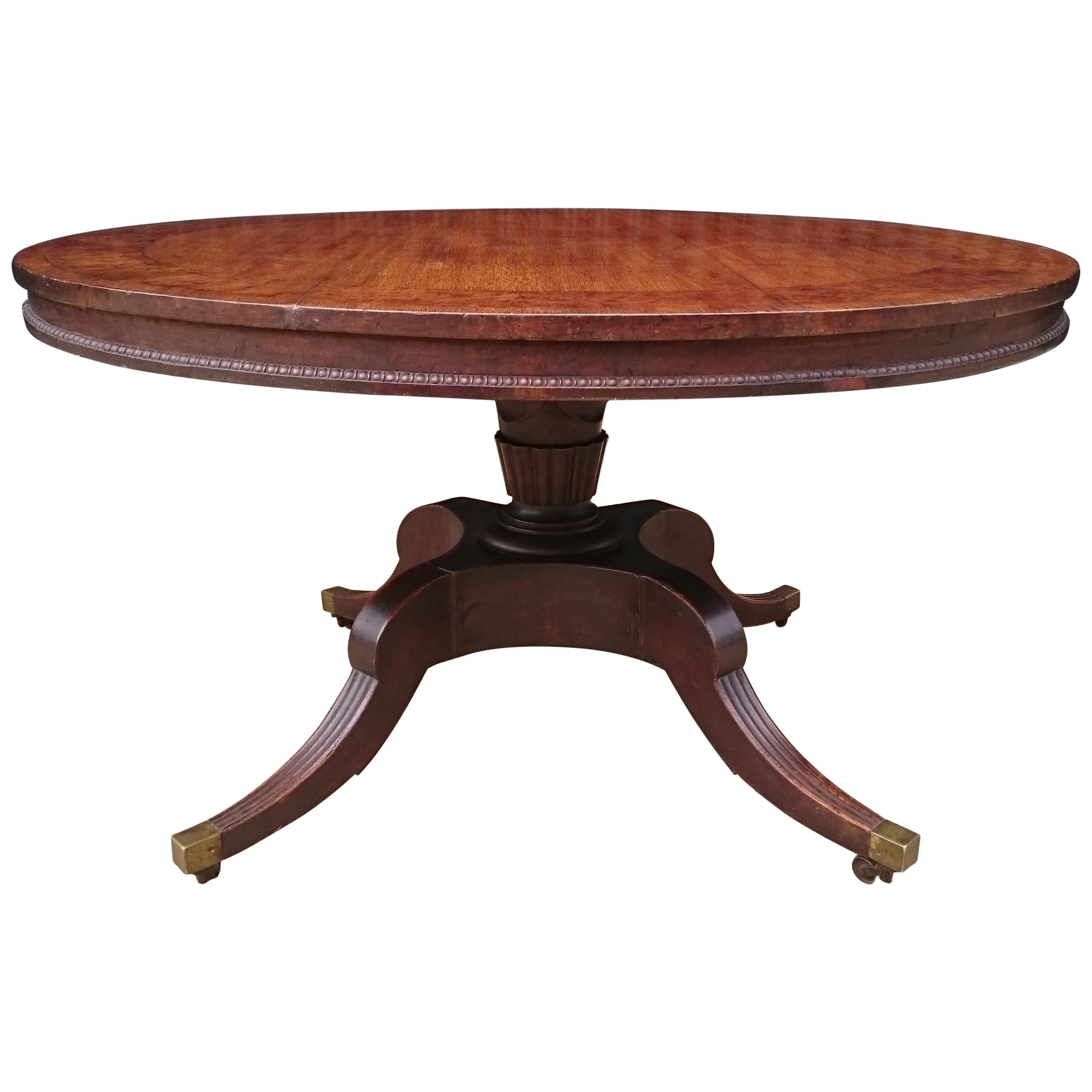 19th Century Regency Center Table Table Made Of Oak With Burr Oak Banding