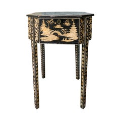 19th Century Regency Checkerboard Game Table with Chinoiserie Penwork Decoration
