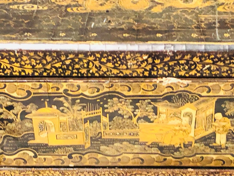 19th Century Regency Chinoiserie Decorated Sewing Stand with Elaborate Detail For Sale 9