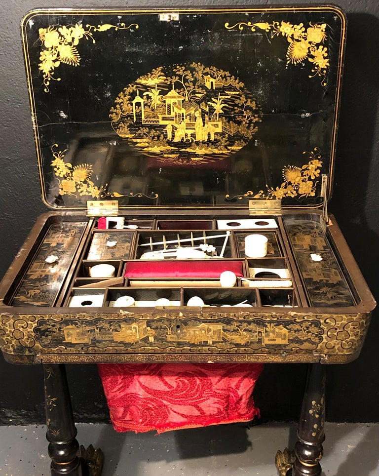 19th Century Regency Chinoiserie Decorated Sewing Stand with Elaborate Detail In Fair Condition For Sale In Stamford, CT