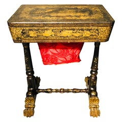 19th Century Regency Chinoiserie Decorated Sewing Stand with Elaborate Detail