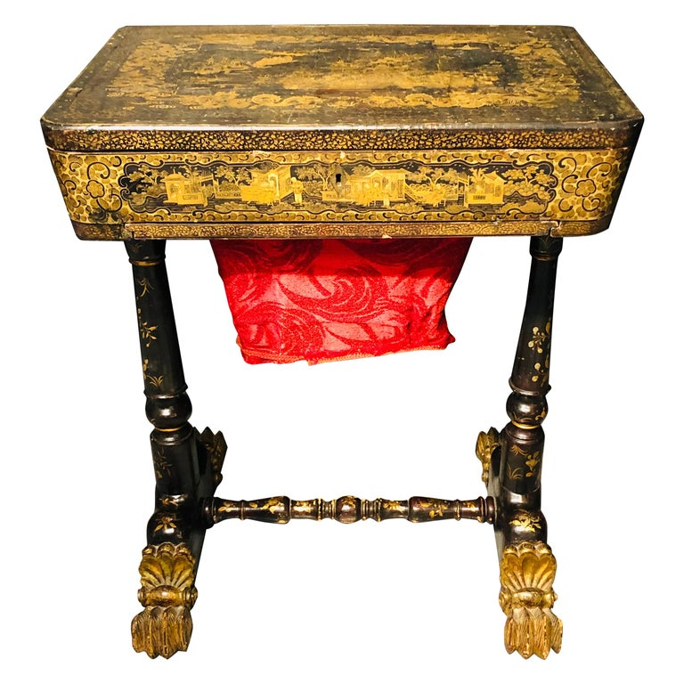 19th Century Regency Chinoiserie Decorated Sewing Stand with Elaborate Detail For Sale