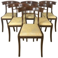 19th Century Regency Dining Chairs, Flame and Solid Mahogany Set of 6