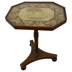 19th Century Regency Embroidered Top Mahogany Side Table