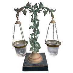 19th Century Regency Epergne with Two Hanging Glass Vases