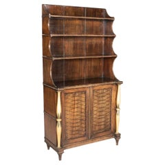 19th Century Regency Faux Grained and Parcel-Gilt Chiffonier/ Bookcase