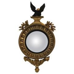 19th Century Regency Gilt and Ebonized Convex Mirror
