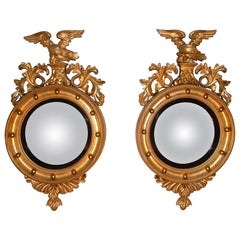 19th Century Regency Giltwood Convex Mirrors