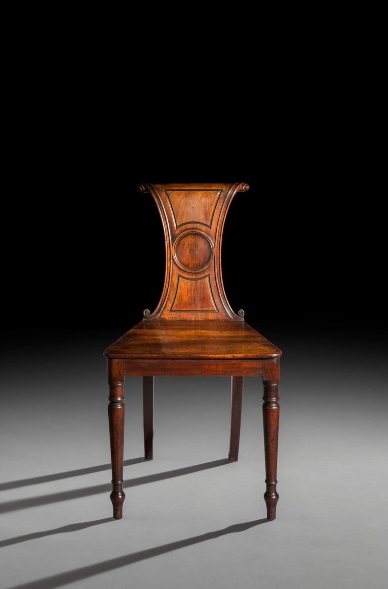Hand-Carved 19th Century Regency Hall Chair For Sale