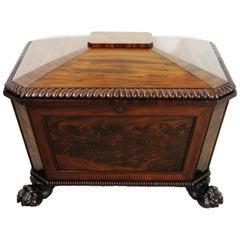 19th Century Regency Large Sized Flame Mahogany Wine Cooler