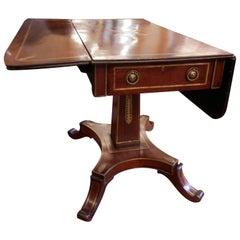 19th Century Regency Mahogany and Gilt Brass Inlayed Sofa Table