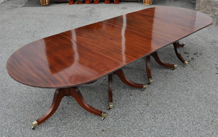 19th Century Regency Mahogany Four Pedestal Dining Table For Sale 2