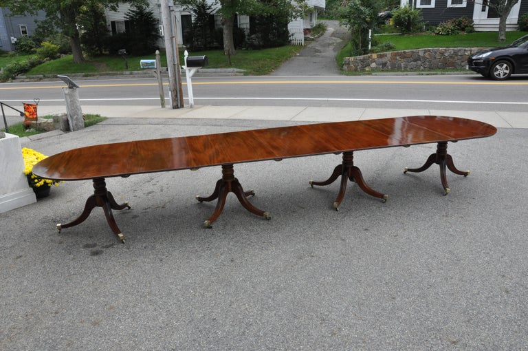 19th Century Regency Mahogany Four Pedestal Dining Table For Sale 1