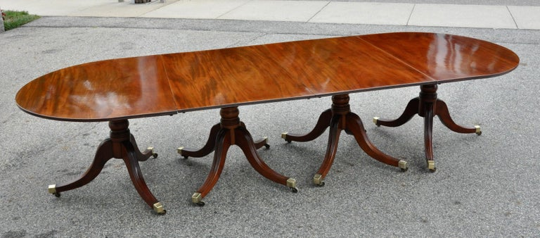 19th Century Regency Mahogany Four Pedestal Dining Table For Sale 8