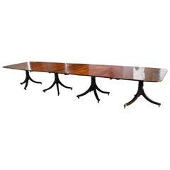 19th Century Regency Mahogany Four Pedestal Dining Table