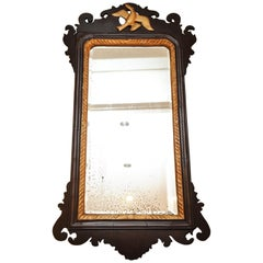 19th Century Regency Mahogany Hand Carved Hanging Wall Mirror with Gilt Bird