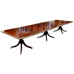 19th Century Regency Mahogany Triple Pedestal Dining Table with Satinwood Bandin