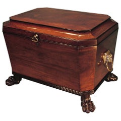 19th Century Regency Mahogany Wine Cooler with Brass Lion's Head Handles