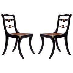 19th Century Regency Pair of Black Klismos Chairs, circa 1810