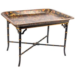 19th Century Regency Paper Macha Tray on Stand