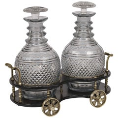 19th Century Regency Paper Mâché and Cut-Glass Decanter Wagon