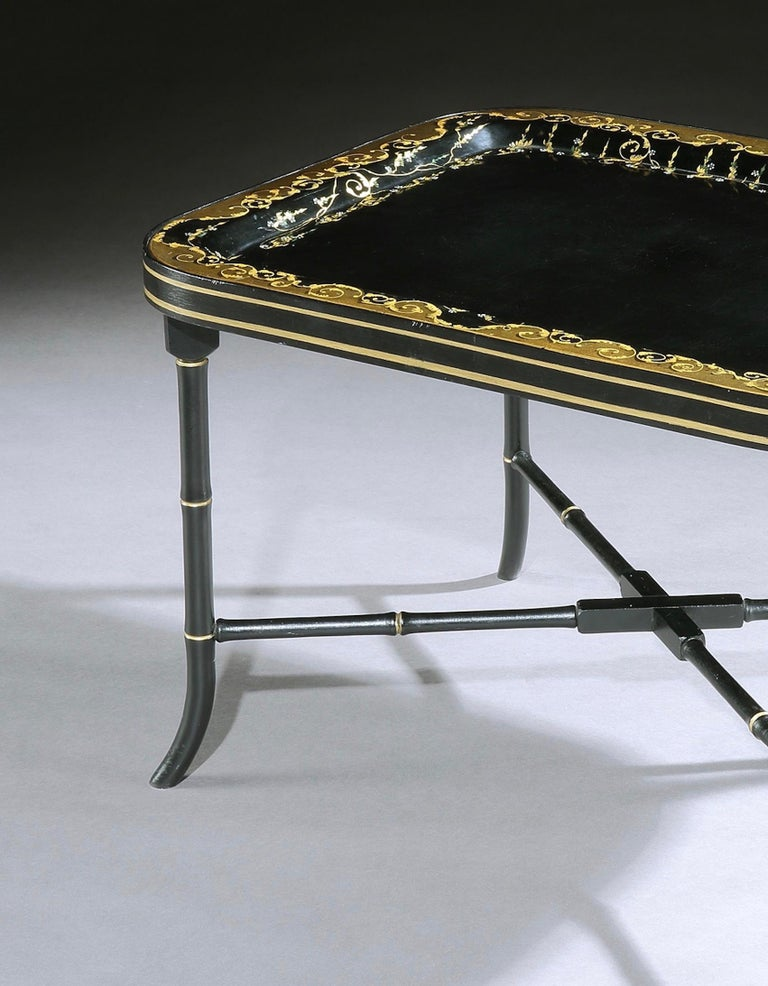 Japanned 19th Century Regency Papier Mâché Tray-on-Stand For Sale