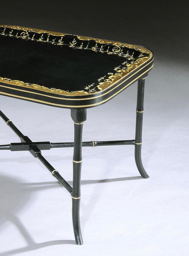 19th Century Regency Papier Mâché Tray-on-Stand In Good Condition For Sale In London, GB