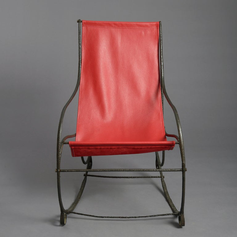 English 19th Century Regency Period Cast Iron Rocking Chair For Sale