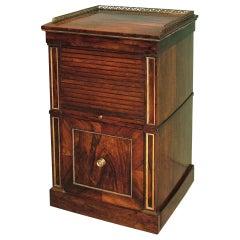 19th Century Regency Rosewood Tambour Bedside Cabinet
