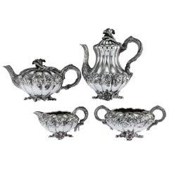 Regency Solid Silver 4-Piece Tea and Coffee Service, London, circa 1831