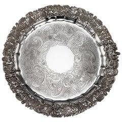 19th Century Regency Solid Silver Magnificent Salver Tray, J Hayne, circa 1827