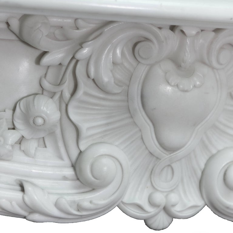 English 19th Century Regency Statuary White Marble Fireplace Chimneypiece For Sale